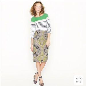 J.Crew Sovereign Paisley Pencil Skirt Size 2